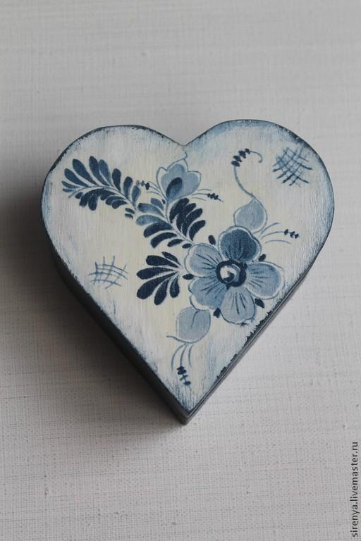 """Шкатулки ручной работы. Ярмарка Мастеров - ручная работа. Купить Шкатулка """"Гжель сердечная"""". Handmade. Сердце, шкатулка для мелочей, подарок"""