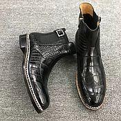 Обувь ручной работы handmade. Livemaster - original item Brogated crocodile leather ankle boots, handmade, black. Handmade.