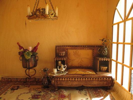 Кукольный дом ручной работы. Ярмарка Мастеров - ручная работа. Купить Антикварный диван. Масштаб 1:12. Handmade. Коричневый