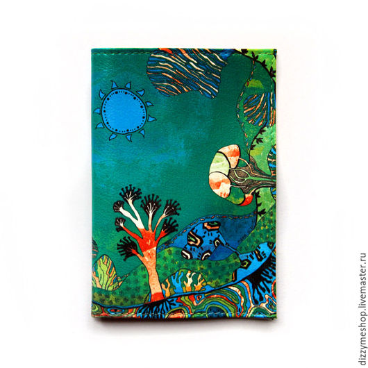 """Обложки ручной работы. Ярмарка Мастеров - ручная работа. Купить Обложка для паспорта """"Саванна зеленая"""". Handmade. Зеленый, деревья"""