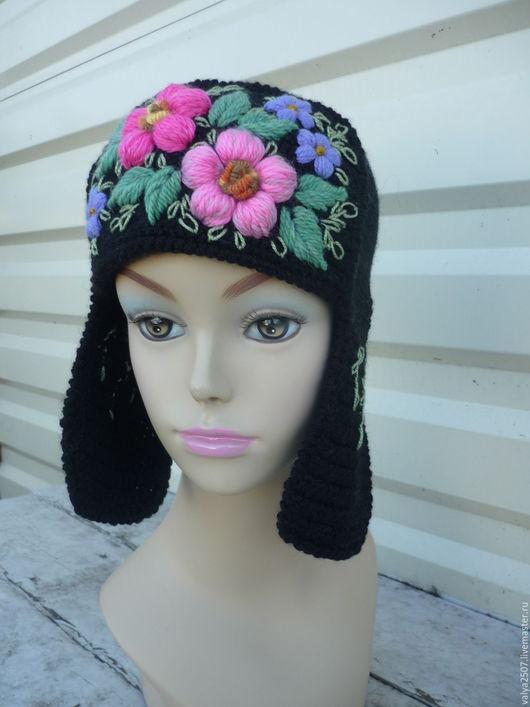 Шапки ручной работы. Ярмарка Мастеров - ручная работа. Купить шапка с ушками. Handmade. Комбинированный, объемная вышивка