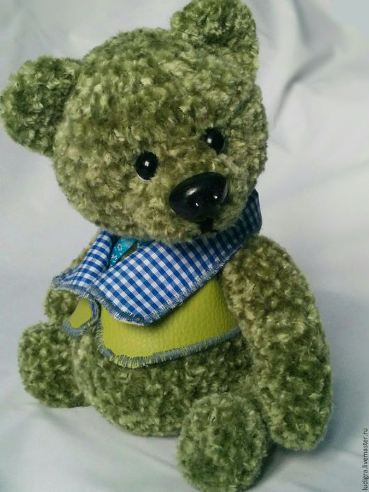 Мишки Тедди ручной работы. Ярмарка Мастеров - ручная работа. Купить мишка тедди Модник. Handmade. Зеленый, фактурная пряжа