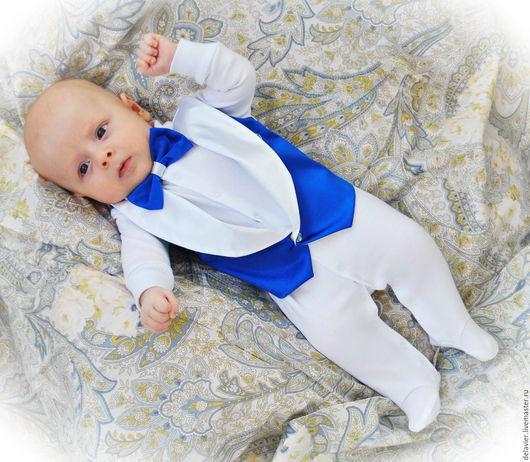 """Для новорожденных, ручной работы. Ярмарка Мастеров - ручная работа. Купить Комплект на выписку  """"Денди. Василек"""" от Делавьи. Handmade. Синий"""