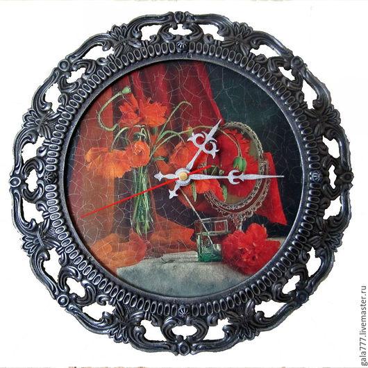 """Часы для дома ручной работы. Ярмарка Мастеров - ручная работа. Купить Часы """"Маки"""". Handmade. Ярко-красный, мак"""
