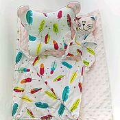 Комплект белья в кроватку ручной работы. Ярмарка Мастеров - ручная работа Пледик, ортопедическая подушка и котик-комфортер. Handmade.