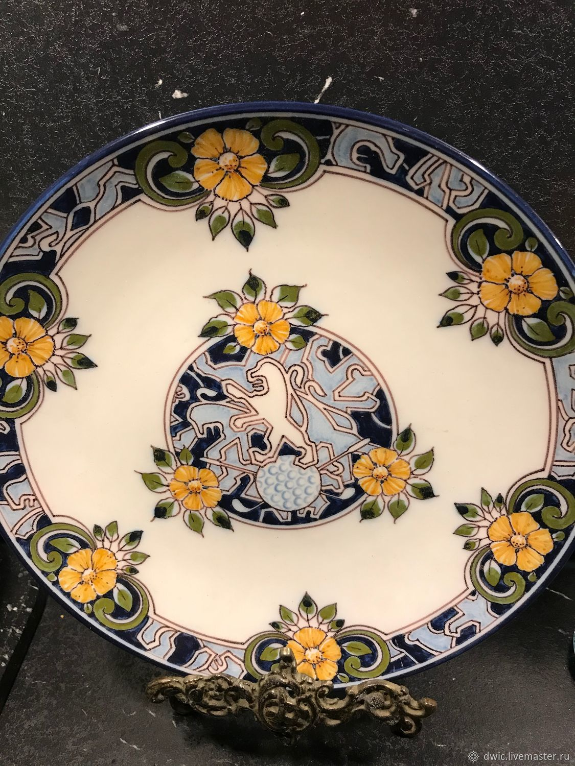 Decorative plate 'lion', Makkum, Holland, Vintage interior, Arnhem,  Фото №1