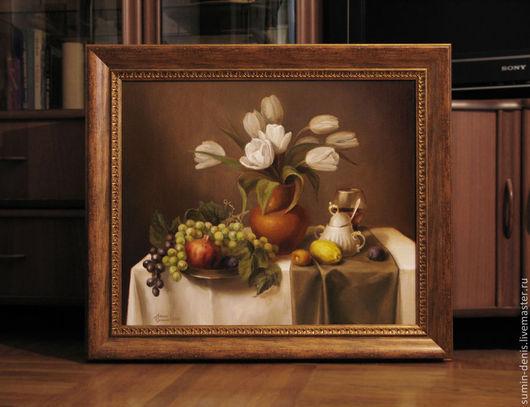 Натюрморт ручной работы. Ярмарка Мастеров - ручная работа. Купить Натюрморт с тюльпанами. Handmade. Натюрморт с цветами, крынка, гризайль, цветы