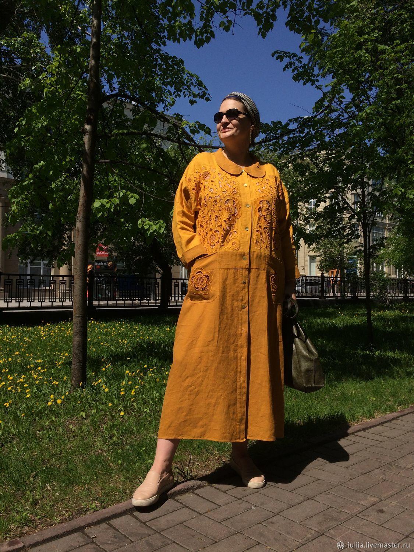 """БОЛЬШОЙ размер Льняное платье/пальто с вышивкой """"Горчица"""", Платья, Новосибирск,  Фото №1"""