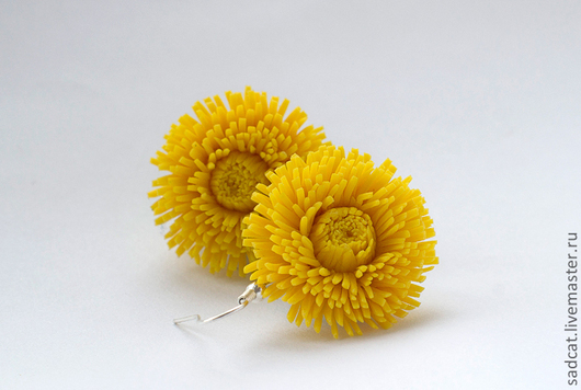 """Серьги ручной работы. Ярмарка Мастеров - ручная работа. Купить Серьги """"одуванчики"""". Handmade. Цветы ручной работы, желтые цветы"""