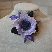 Украшения ручной работы. Ярмарка Мастеров - ручная работа Брошь-цветок Анемон фиолетовый. Цветы из шелка. Handmade.