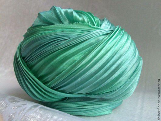 Для украшений ручной работы. Ярмарка Мастеров - ручная работа. Купить №58 Изумрудный перелив Ленты Шибори Silk Ribbons Shibori. Handmade.
