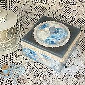 """Для дома и интерьера ручной работы. Ярмарка Мастеров - ручная работа шкатулка """"Голубые розы"""". Handmade."""