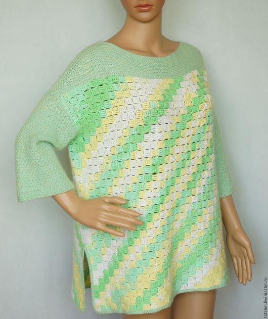 """Кофты и свитера ручной работы. Ярмарка Мастеров - ручная работа. Купить Пуловер хлопок """"Май"""". Handmade. Комбинированный, пуловер крючко"""
