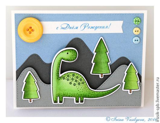 Детские открытки ручной работы. Ярмарка Мастеров - ручная работа. Купить Открытка с динозавриком к дню рождения. Handmade. Зеленый