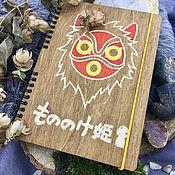 Канцелярские товары handmade. Livemaster - original item Princess Mononoke Wooden Notepad / Sketchbook mask. Handmade.