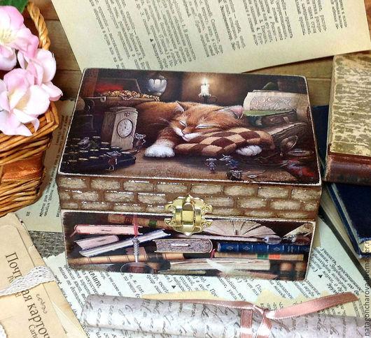 """Шкатулки ручной работы. Ярмарка Мастеров - ручная работа. Купить шкатулка """"Кот ученый"""". Handmade. Коричневый, для дома и интерьера"""