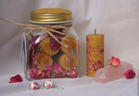 """Свечи ручной работы. Ярмарка Мастеров - ручная работа. Купить набор свечей """"Медовый конфитюр"""" с розой. Handmade. Свечи, воск"""