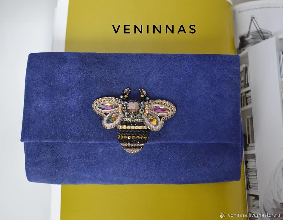 Clutch-cosmetic bag made of suede, bumblebee, Clutches, Moscow,  Фото №1