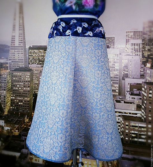 """Юбки ручной работы. Ярмарка Мастеров - ручная работа. Купить Юбка из неопрена """"Норвегия"""" миди, на подкладке. Handmade."""