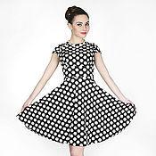 Одежда ручной работы. Ярмарка Мастеров - ручная работа 246:Летнее платье с широкой юбкой, молодежное платье в горошек. Handmade.