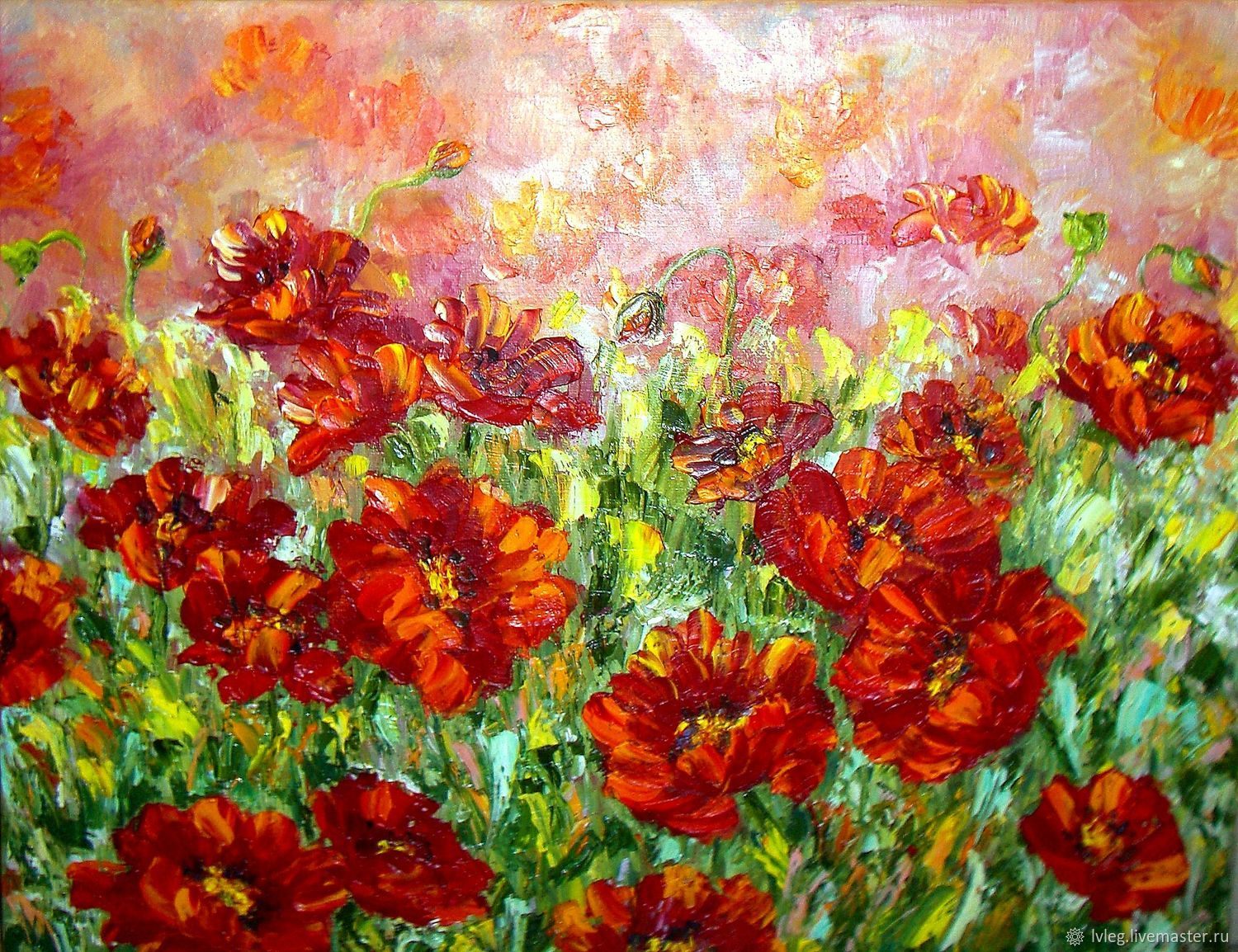 Oil painting poppy field canvas poppies flowers shop online on flower paintings handmade livemaster handmade buy oil painting poppy field mightylinksfo