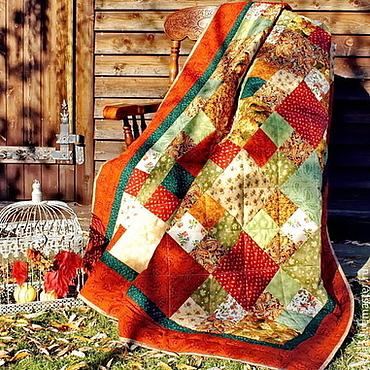 Для дома и интерьера ручной работы. Ярмарка Мастеров - ручная работа Осенняя Сказка лоскутное одеяло покрывало, подарок для дома. Handmade.