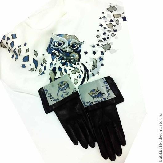 Комплекты аксессуаров ручной работы. Ярмарка Мастеров - ручная работа. Купить Комплект: Платок батик и кожаные перчатки Совенок. Handmade.