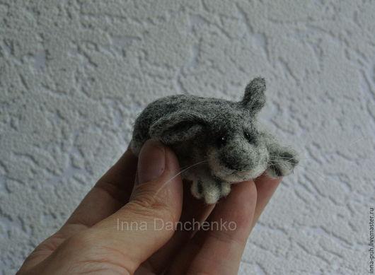 Зайчик, игрушка валяная из шерсти, кролик, Данченко Инна