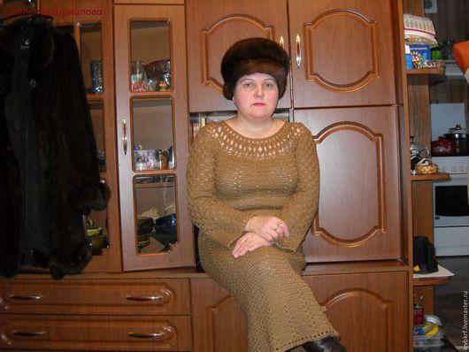 Платья ручной работы. Ярмарка Мастеров - ручная работа. Купить платье крючком бежевое. Handmade. Бежевый, вязание на заказ