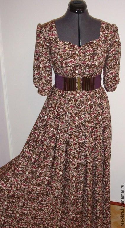 """Платья ручной работы. Ярмарка Мастеров - ручная работа. Купить Платье """"Теплая осень"""" из штапеля. Handmade. Штапель, длинное платье"""