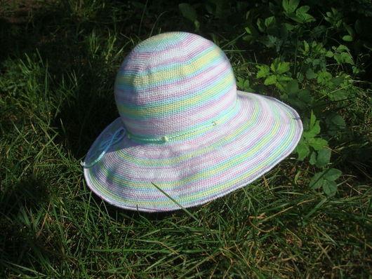 Шляпы ручной работы. Ярмарка Мастеров - ручная работа. Купить Шляпа летняя с большими полями Нежная радуга. Handmade.
