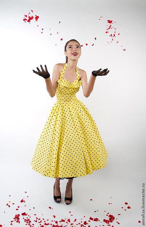"""Платья ручной работы. Ярмарка Мастеров - ручная работа. Купить Ретро платье в стиле 50-х """"Лимонник"""". Handmade. Ретро"""