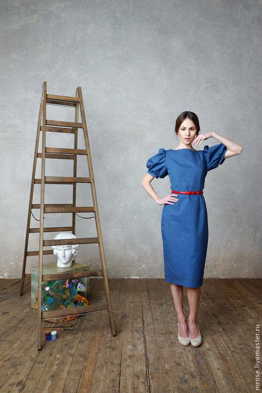 """Платья ручной работы. Ярмарка Мастеров - ручная работа. Купить Платье """"Парижанка"""" синий. Handmade. Тёмно-синий, платье футляр"""