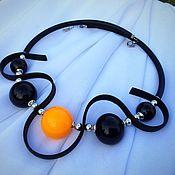 Украшения manualidades. Livemaster - hecho a mano Collar en blanco y negro de vidrio de color amarillo lempvork de moldeo por las bolas. Handmade.