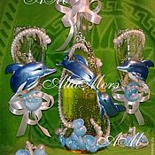 """Свадебный салон ручной работы. Ярмарка Мастеров - ручная работа Свадебный набор """"Влюблённые дельфины"""".. Handmade."""