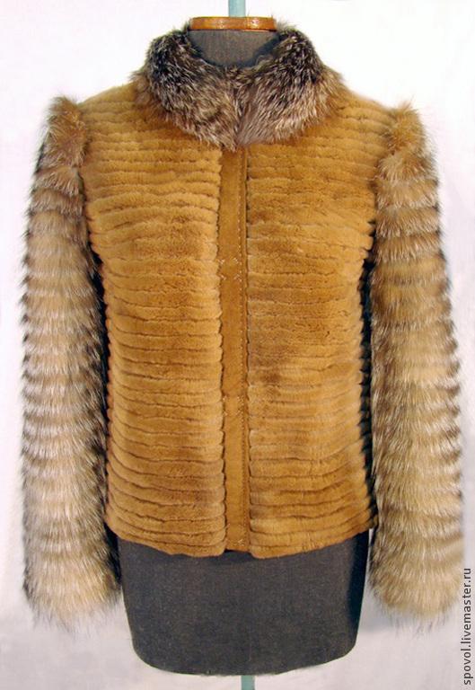 Верхняя одежда ручной работы. Ярмарка Мастеров - ручная работа. Купить Жакет из щипанной норки и лисы комбинированный. Handmade. Норка