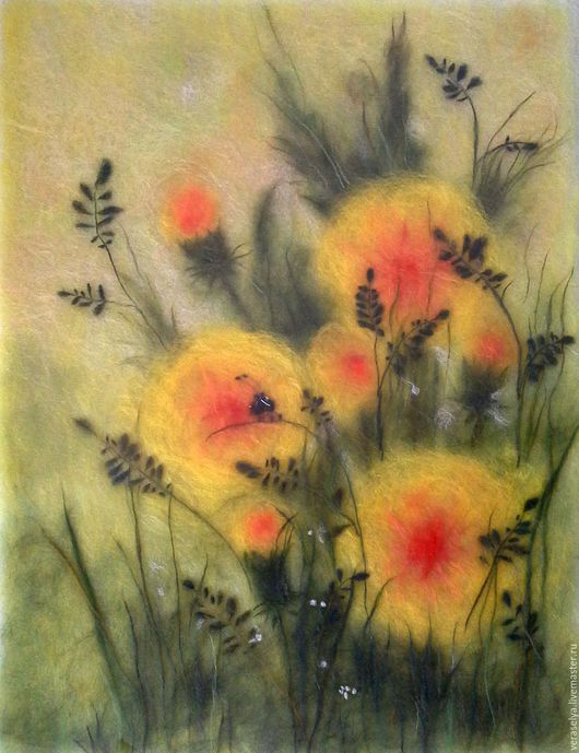 Картины цветов ручной работы. Ярмарка Мастеров - ручная работа. Купить Картина из шерсти Одуванчики (Букашка). Handmade. Желтый, одуванчики