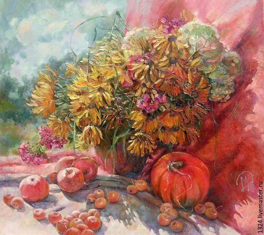 Натюрморт ручной работы. Ярмарка Мастеров - ручная работа. Купить картина Райские яблочки масло холст 55см/60см. Handmade. солнце