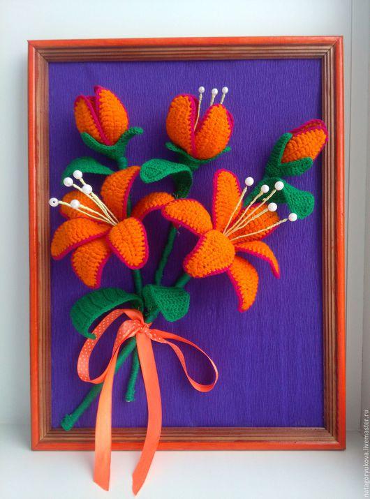 Картины цветов ручной работы. Ярмарка Мастеров - ручная работа. Купить лилии от Натальи. Handmade. Панно на стену, для интерьера