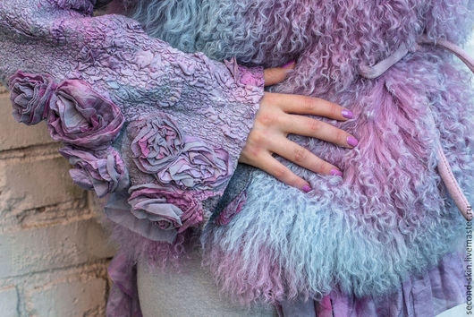 Верхняя одежда ручной работы. Ярмарка Мастеров - ручная работа. Купить Шубка лиловая 42-48. Handmade. Фиолетовый, полушубок