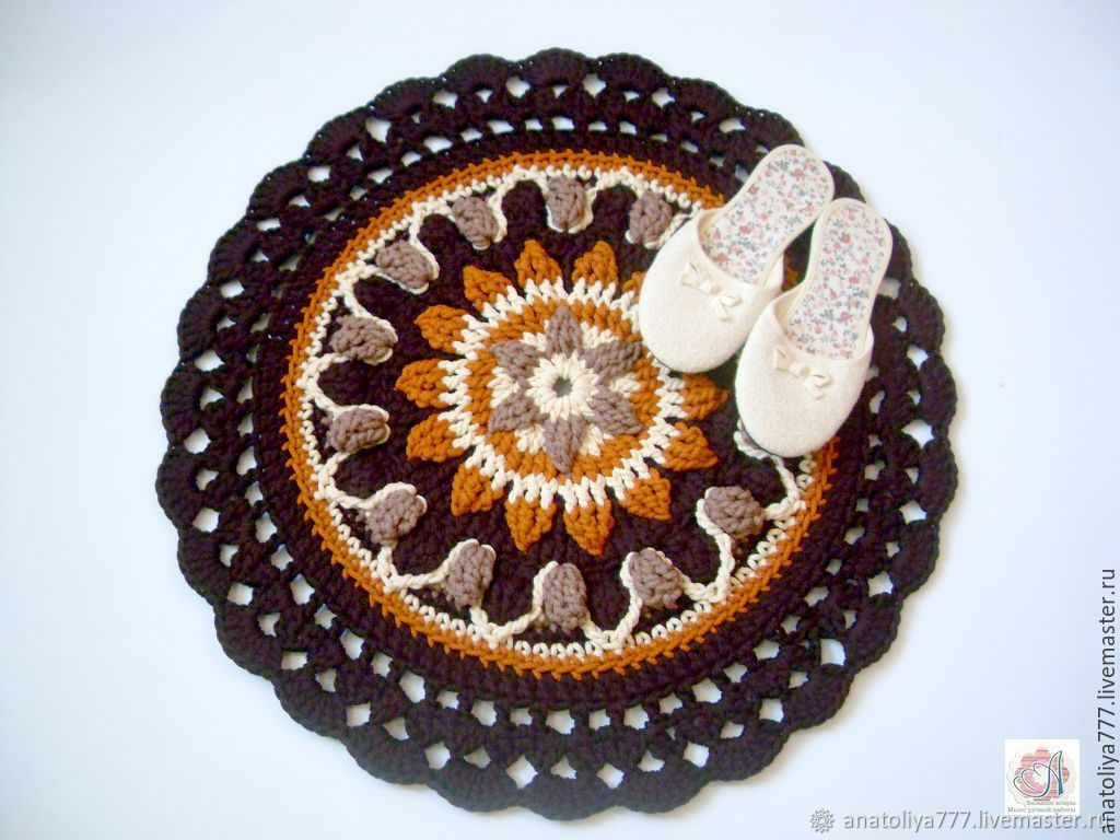 Mat mandala knit handmade cord bedside, Carpets, Kabardinka,  Фото №1