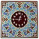 `Арабески` часы настенные интерьерные из стекла. Ручная роспись по стеклу . Точечная роспись. Часы большие из стека , оригинальные.