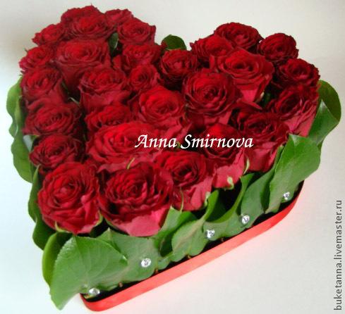 Подарки для влюбленных ручной работы. Ярмарка Мастеров - ручная работа. Купить Сердце из роз. Handmade. Бордовый, подарок на свадьбу