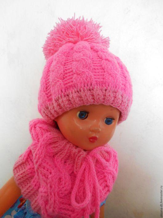 Шапки и шарфы ручной работы. Ярмарка Мастеров - ручная работа. Купить комплект для девочки. Handmade. Розовый, шапочка вязаная