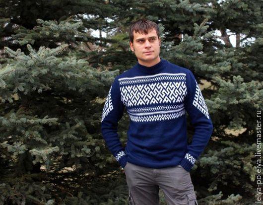 """Одежда ручной работы. Ярмарка Мастеров - ручная работа. Купить Вязаный свитер обережный """"Боговник"""". Handmade. Тёмно-синий"""