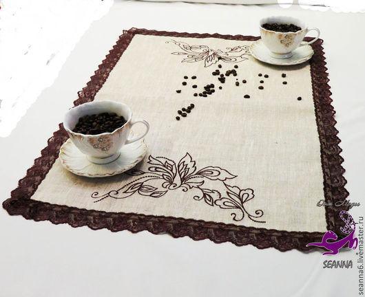 """Кухня ручной работы. Ярмарка Мастеров - ручная работа. Купить Скатерть, кофейная, чайная с вышивкой """"Шоколадная орхидея с кружевом"""". Handmade."""