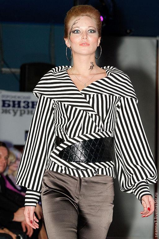 """Верхняя одежда ручной работы. Ярмарка Мастеров - ручная работа. Купить Куртка """"Морячка"""" из полосатого трикотажа с лаковым поясом. Handmade."""