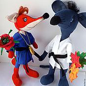 Куклы и игрушки ручной работы. Ярмарка Мастеров - ручная работа Чемпионы по дзюдо лиса Алисонька и мышь Кнышъ. Handmade.