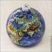 """Подарки к праздникам ручной работы. Ярмарка Мастеров - ручная работа Елочный шар """"Глобус мира"""". Handmade."""