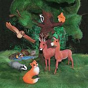 Куклы и игрушки ручной работы. Ярмарка Мастеров - ручная работа Лесные звери (сухое валяние). Handmade.